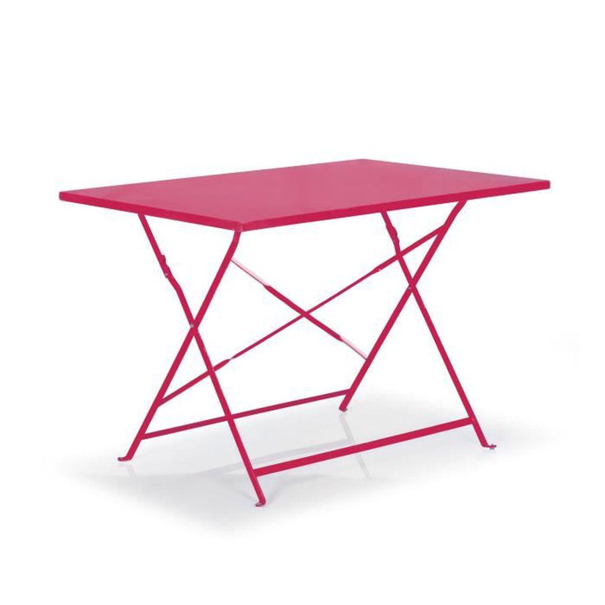 Pims Table de jardin pliante rose en acier (2 à 4 places) - Achat ...