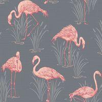 Arthouse 252603 Papier peint vintage Motif Flamants roses Gris/corail …