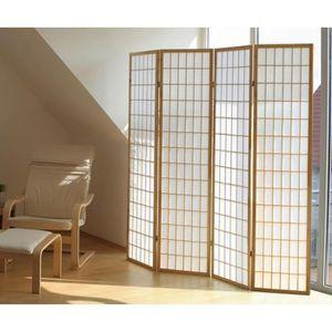 PARAVENT Paravent en bois coloris blanc shoji, L 176 x P 2.
