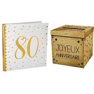 LIVRE D OR 1 Pack tirelire et livre d'or anniversaire 80ans b