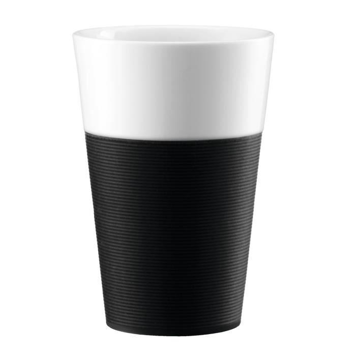 BODUM BISTRO Set 2 mugs en porcelaine avec bande silicone 0,6L noir et blanc