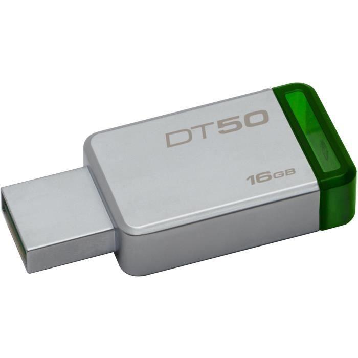 KINGSTON Clé USB DataTraveler 50 16Go USB 3.0 - Métal et vert