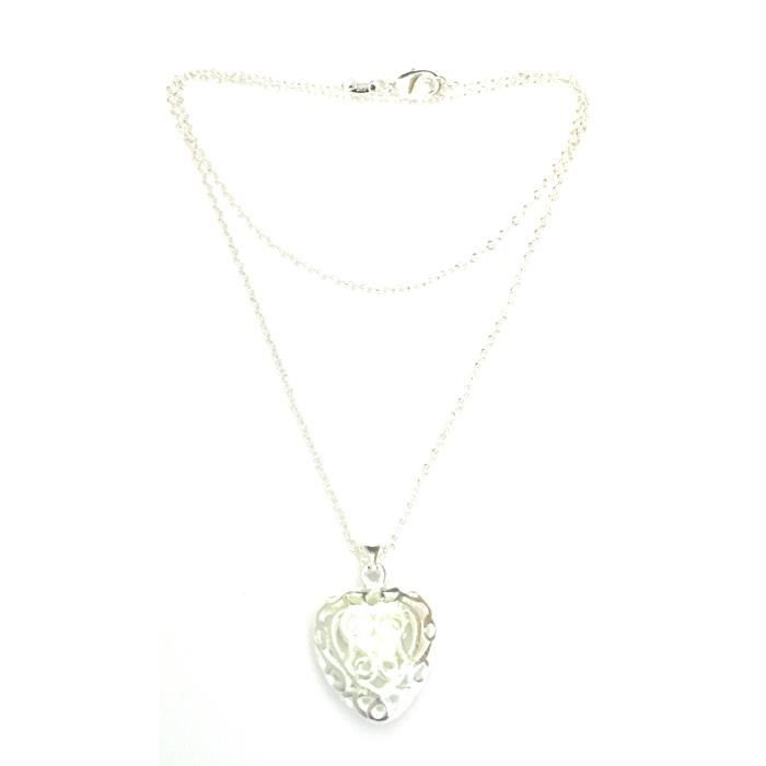 Womens Luminous Heart Necklace For - Party Fluorescent Stone Glow In The Night DD33W