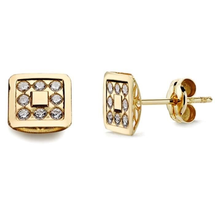 Boucle doreille 18k or zircons carres 7mm. AB2936 AB2936