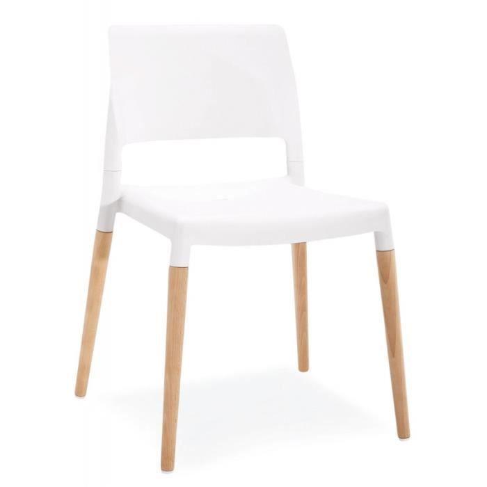 Chaise Blanche Pied En Bois