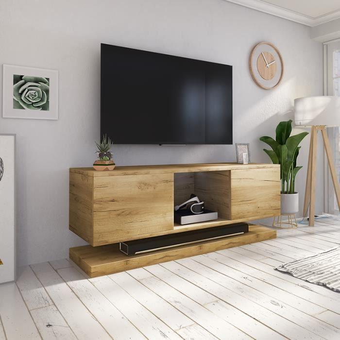 Meuble Tv Meuble De Salon Wizz 140 Cm Chene Wotan Sans Led Style Moderne Meuble Tv Suspendu