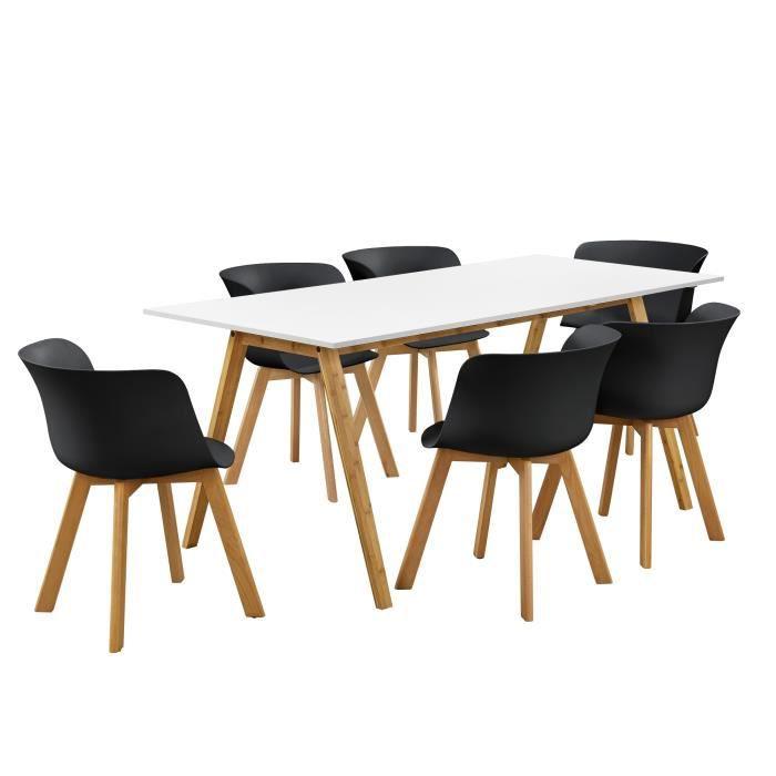 Table carrée et 12 chaises de jardin résine tressée noir coussins blanc Mik