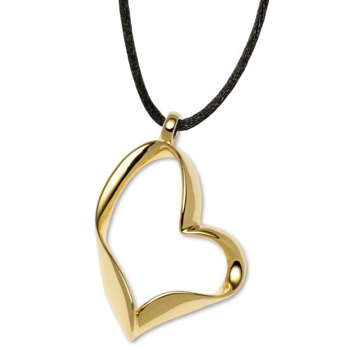 GOOIX - GOOIX 917-05626 Femmes Collier Coeur Gold Schwarz 45 cm Réf 58154