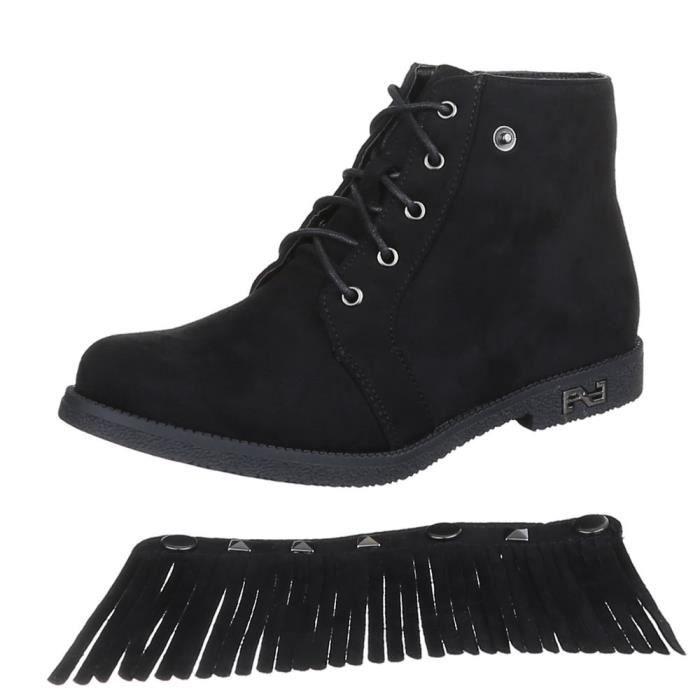 chaussure Femme effilé Noir bottillonn Noir laçage bottes J5uTFK1cl3