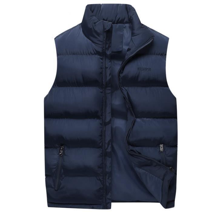 2100a8040586 Gilet Doudoune chaud sans manche col montant casual fermeture par zip mode  uni nouveau vêtement automne hiver