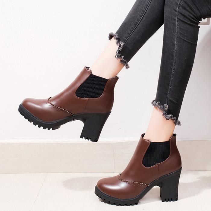 Mode talons hauts talons carrés Martin bottes d'hiver femmes Martin bottes chaussures