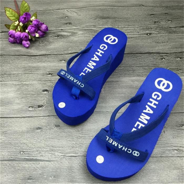 Chaussures tongs Marque De Luxe pantoufles d'été sandales plates femme Antidérapant femmes sandales pantoufledssx113bleu38