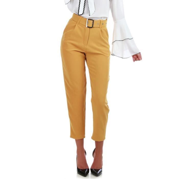 Pantalon carotte jaune moutarde taille haute à ceinture-S Jaune ... 0cb3325d5d5