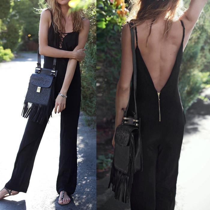 Jumpsuit noir Backless Salopette Femmes Manches Bandage Sexy Parti Clubwear w4x7T1