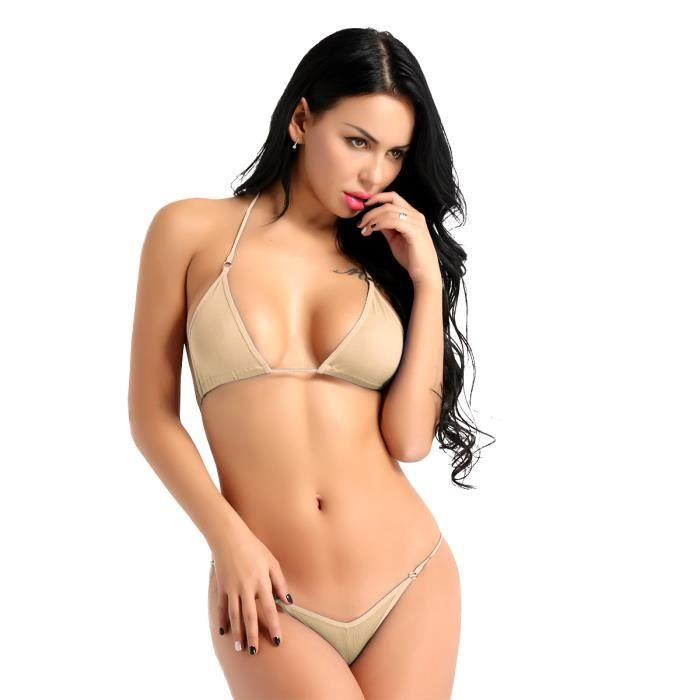 prix réduit faire les courses pour recherche d'officiel Sexy Femme Lingerie Ensemble Soutien-gorge Bikini String Thong Erotique  Sous-vêtements Ecru