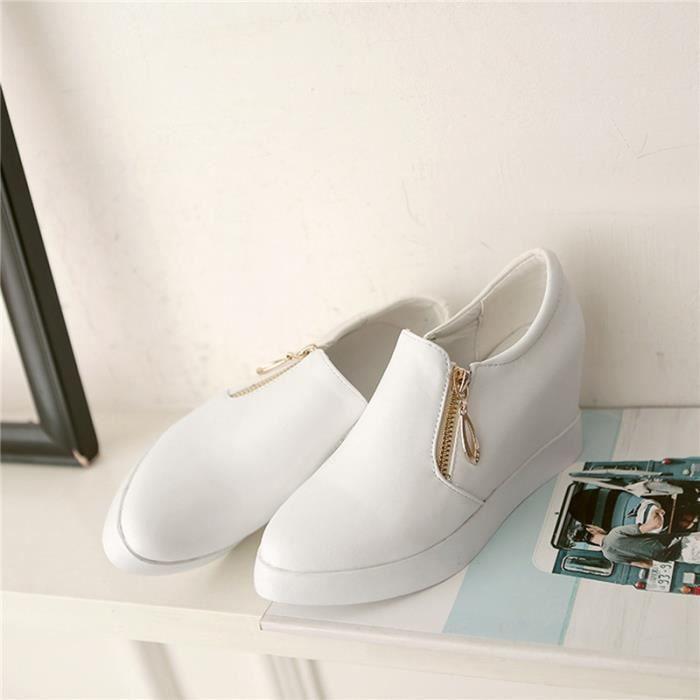 Sandals Femme Couleur Pure Nouvelle Mode Zip Sans Lacets Plateforme Plates Sports L'automne Confortable