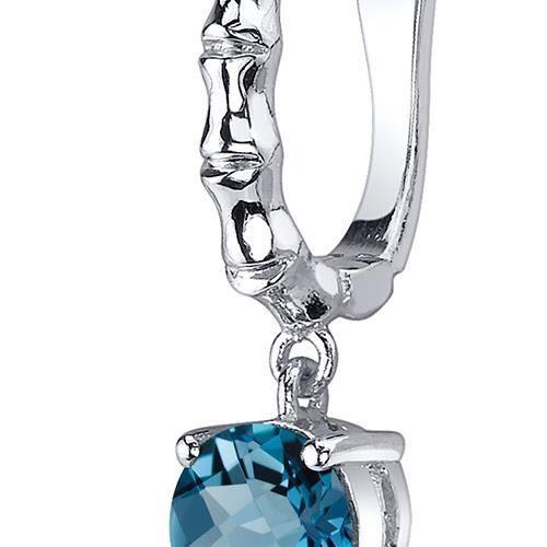 Boucles doreille - Femme -Argent- Topaze bleue