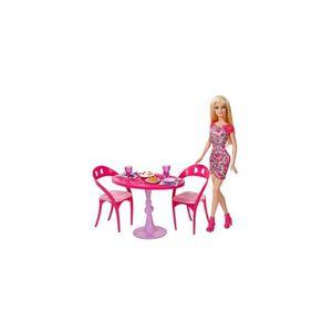 MAISON POUPÉE Mattel - Poup?e Barbie et Salle ? manger Glam
