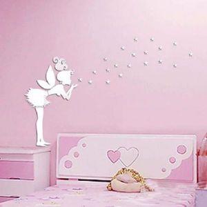 45e58560a0c6a Ange Fée Magique Et Étoiles 3d Miroir Sticker Mural Enfants Chambre  Décoration Cadeau Créatrice De Petite