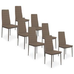CHAISE Lot De 8 Chaises Strip Taupe