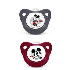 SUCETTE Lot de 2 sucettes Mickey silicone rouge et noire