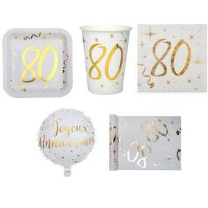 SET VAISSELLE JETABLE  1 Pack anniversaire 80ans pour 10 personnes blanc
