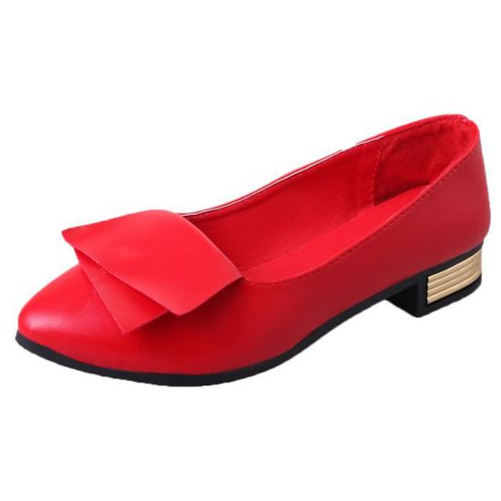 Femmes Bureau d'été Chaussures Escarpins Bureau de mariage Lady Dress Chaussures Slip Pointurouge Rouge Rouge - Achat / Vente slip-on