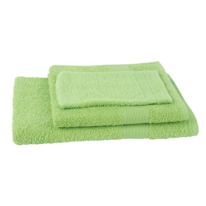 JULES CLARYSSE Lot de 1 serviette + 1 drap de bain + 1 gant de toilette Viva - Vert