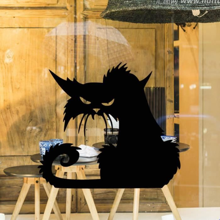 halloween autocollant mural pour la fen tre vitre chat noir accessoires pour la d coration. Black Bedroom Furniture Sets. Home Design Ideas