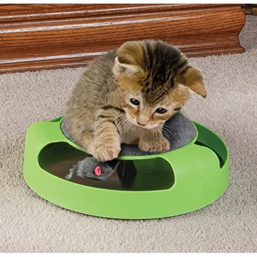 jouet pour chat plateau tournant avec souris vert gratter jouet pour chat chaton achat. Black Bedroom Furniture Sets. Home Design Ideas