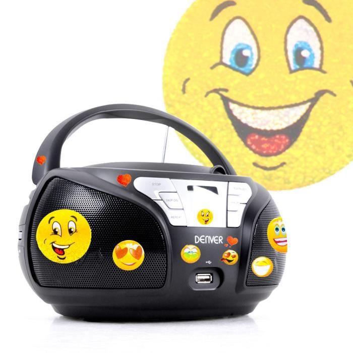 Lecteur Cd Portable Usb Son Stéréo Haut-parleurs Radio Noir Autocollants Smiley