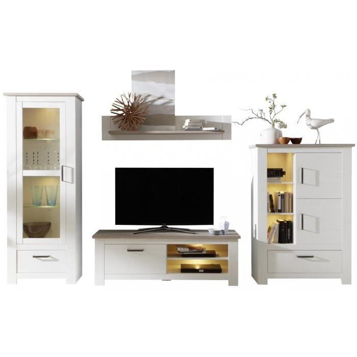 9498ae3f58588 Ensemble meuble TV 360 cm avec 1 banc TV + 2 vitrines et 1 étagère coloris  pin blanc et chêne Nelson Blanc