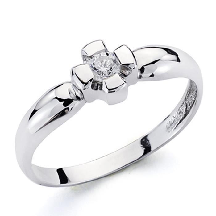 Bague solitaire Or blanc 18 carats brillant 0.1ct diamant commandé [AA7255] - Taille: 58