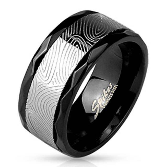 anneau en acier inoxydable de Coolbodyart® Tapsi Noir 10 mm de large avec Spinner bJauned joint et le centre 60 dGris empreintes