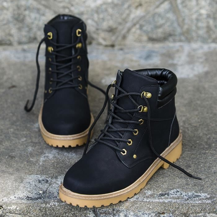 hommes Plate Chaussures Garniture Hiver Low Automne Occasionnels Bottes Poi Cheville Martin RwqvIF4Id