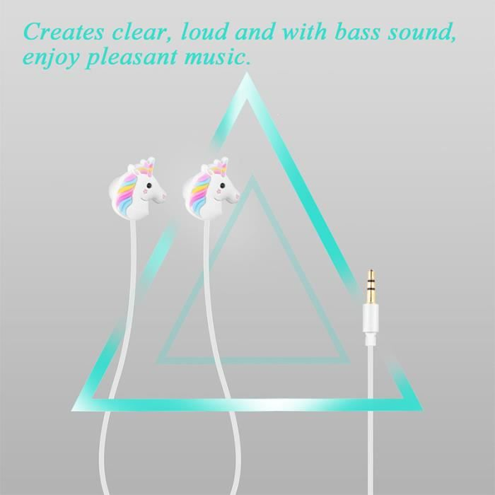 2pcs Licornes Spécial De Bande Dessinée Écouteurs Coloré Arc-en-cheval In-ear 3.5mm Avec Micro Mini Écouteur