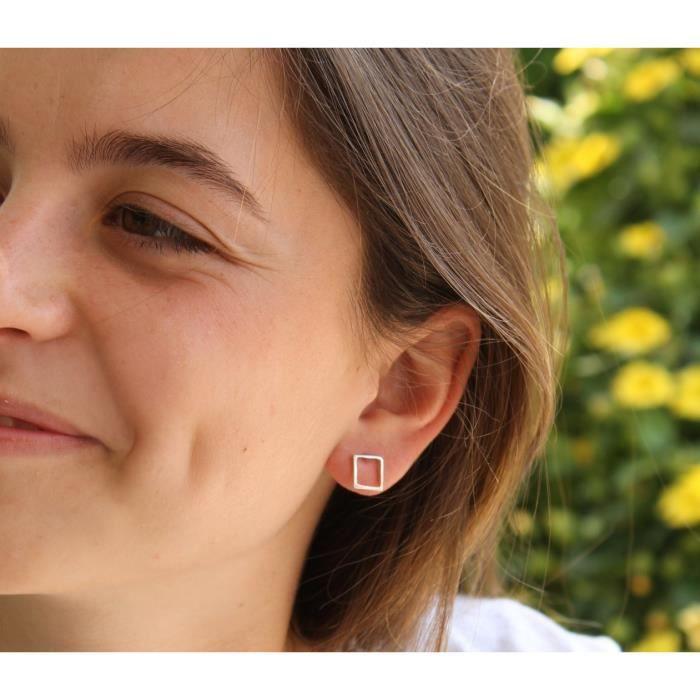 Femmes Carré ouvert Boucles doreilles, Boucles doreilles géométriques Or Rose, Minimaliste Boucles doreilles pour, Nickel F UPSNR