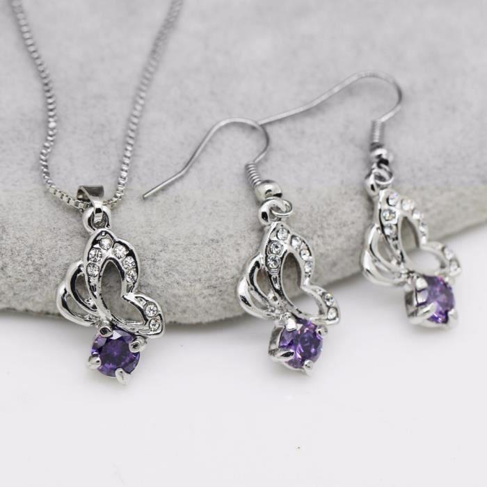 Parure papillons oxyde de zirconium plaqué or blanc couleur Violet