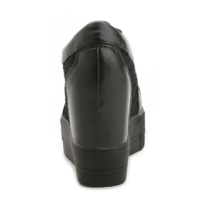Chaussure Compensee Femme Basket Augmentation De La Hauteur Grande Taille Populaire BYLG-XZ110Noir35 38yB4