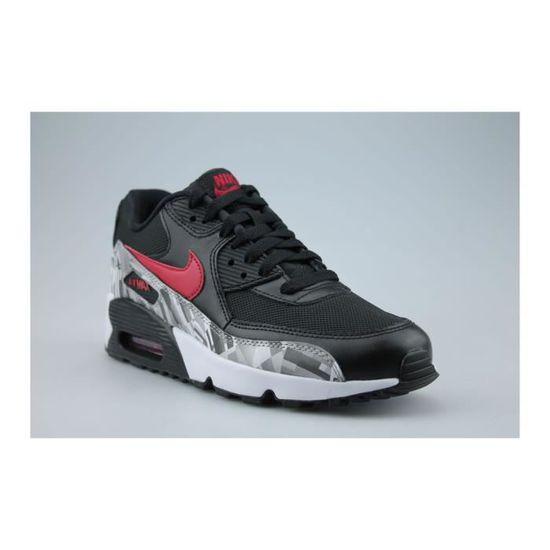 official photos c2fa0 d4634 Nike Air Max 90 Print Mesh Junior Noir Noir Noir Rouge - Achat   Vente  basket - Cdiscount