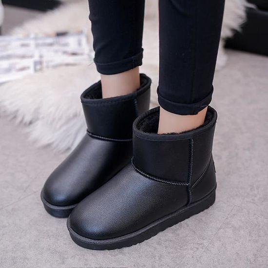 Les femmes Bottes plates cheville fourrure Doublé coton Chaussures chaud neige d'hiver coton Doublé Chaussures     Noir Noir Noir - Achat / Vente botte f99d2c