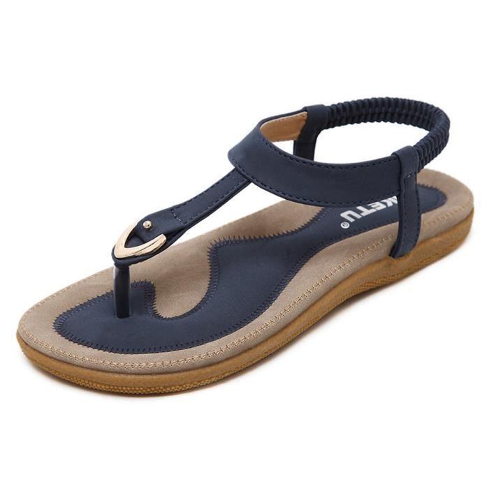 Bleu De Pour Femmes Chaussures Sandales 38 Décontractées Plage 17C55Ywq
