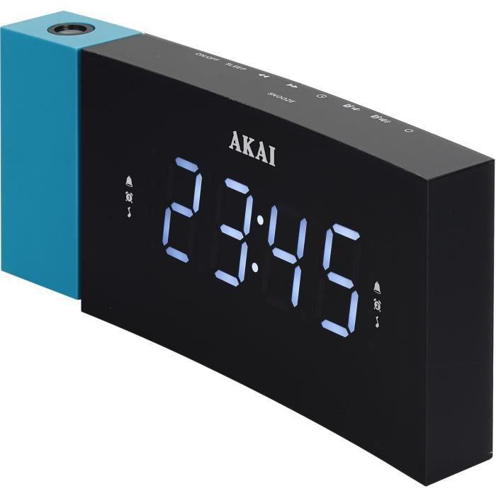 AKAI ACP-163B Radio Réveil projecteur au design incurvé - Bleu