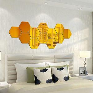 MIROIR Acrylique miroir hexagonal 12 pièces Décoration mi