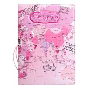 PORTE PAPIERS 14CM x 9.8CM Protège Passeport  Carte du Monde Ros