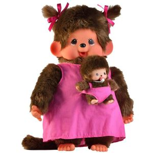 PELUCHE MONCHHICHI Maman et son Bébé Rose 45 cm