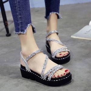 ESCARPIN Orlashop Été femmes Wedges Mode cristal Sandales P