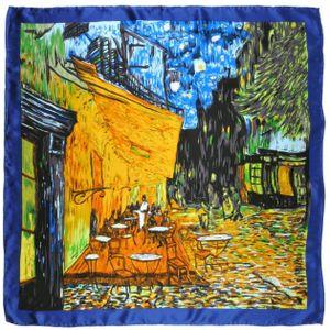 ECHARPE - FOULARD Carré de soie SilkArt Van Gogh Café de nuit cbab4ae2376