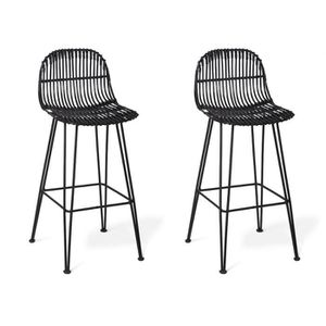 free tabouret de bar lot de tabourets de bar nasura rotin noir with tabouret bar rotin. Black Bedroom Furniture Sets. Home Design Ideas