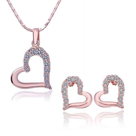 info pour ea52e 6a85a Régler bijoux Femme Or Rose parure de bijoux femme ,ensemble de bijoux femme